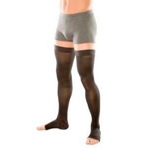 Компрессионные чулки мужские с силиконовым фиксатором и открытым носком плотные (2-ой класс компрессии 26-32 мм рт. ст.)