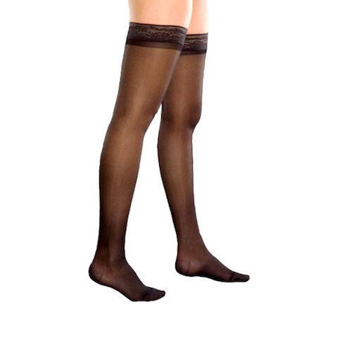 Компрессионные чулки женские прозрачные с ажурным верхом (2-ой класс компрессии 23-25 мм рт. ст.)
